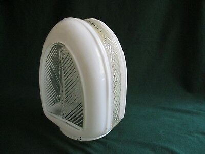 Vintage Arched Art-Deco Clear and White Glass Light Globe Shade