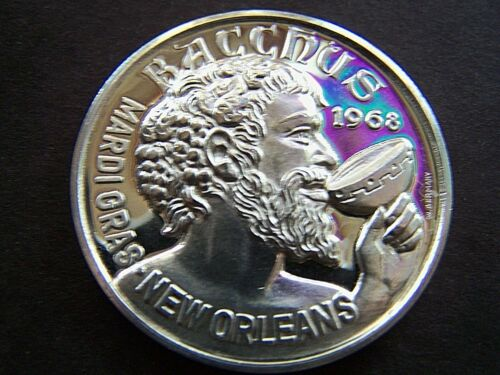 XRare 1969 Bacchus THE BEST THINGS IN LIFE Fine Silver Mardi Gras Doubloon-Yr 1