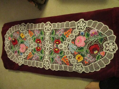 Kalocsa Hungarian  hand embroidered table clout colorful richelieu