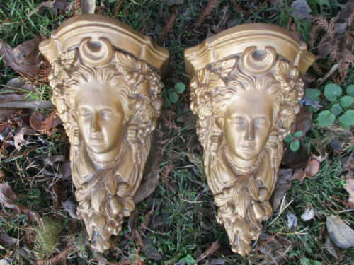 "GORGEOUS VINTAGE PLASTER CORBEL SHELVES LADIES FACES 10 1/2"" TALL"