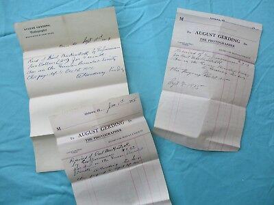 1914-15  (3) Ottawa,Illinois August Gerding family Photographer signed letters