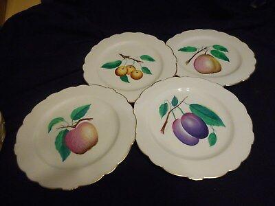 """Vintage Set of 12 Plates Castleton China American Fruit Design Artist Signed 9"""""""