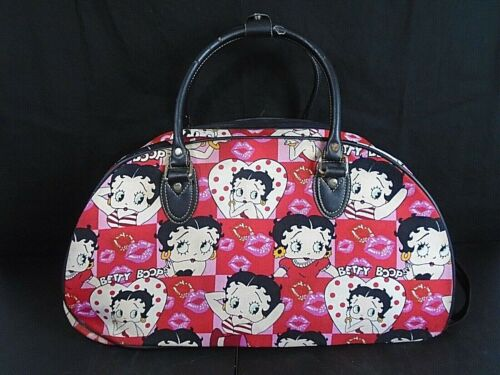Betty Boop Kisses Large Overnight Duffel Travel Canvas Bag Black, White & Red