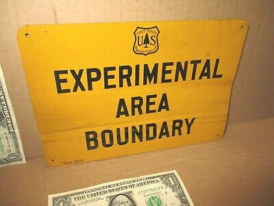 EXPERIMENTAL AREA BOUNDARY --- USED OLD VINTAGE --- US Forest Service  TREE SIGN