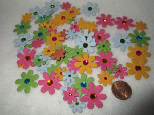 NEW Paper Flowers Rhinestone Centers Blue Pink Yellow Green Colors