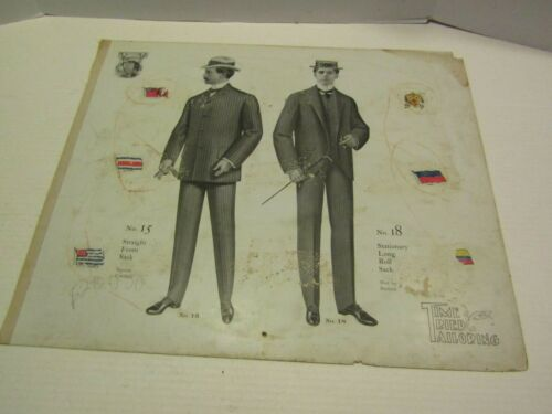 ANTIQUE VICTORIAN ADVERTISING PAPER CARDBOARD TIME TRIED TAILORING MENS SUITS 5