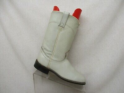 Acme White Leather Roper Cowboy Western Boots Womens Size 7 M Style 19042