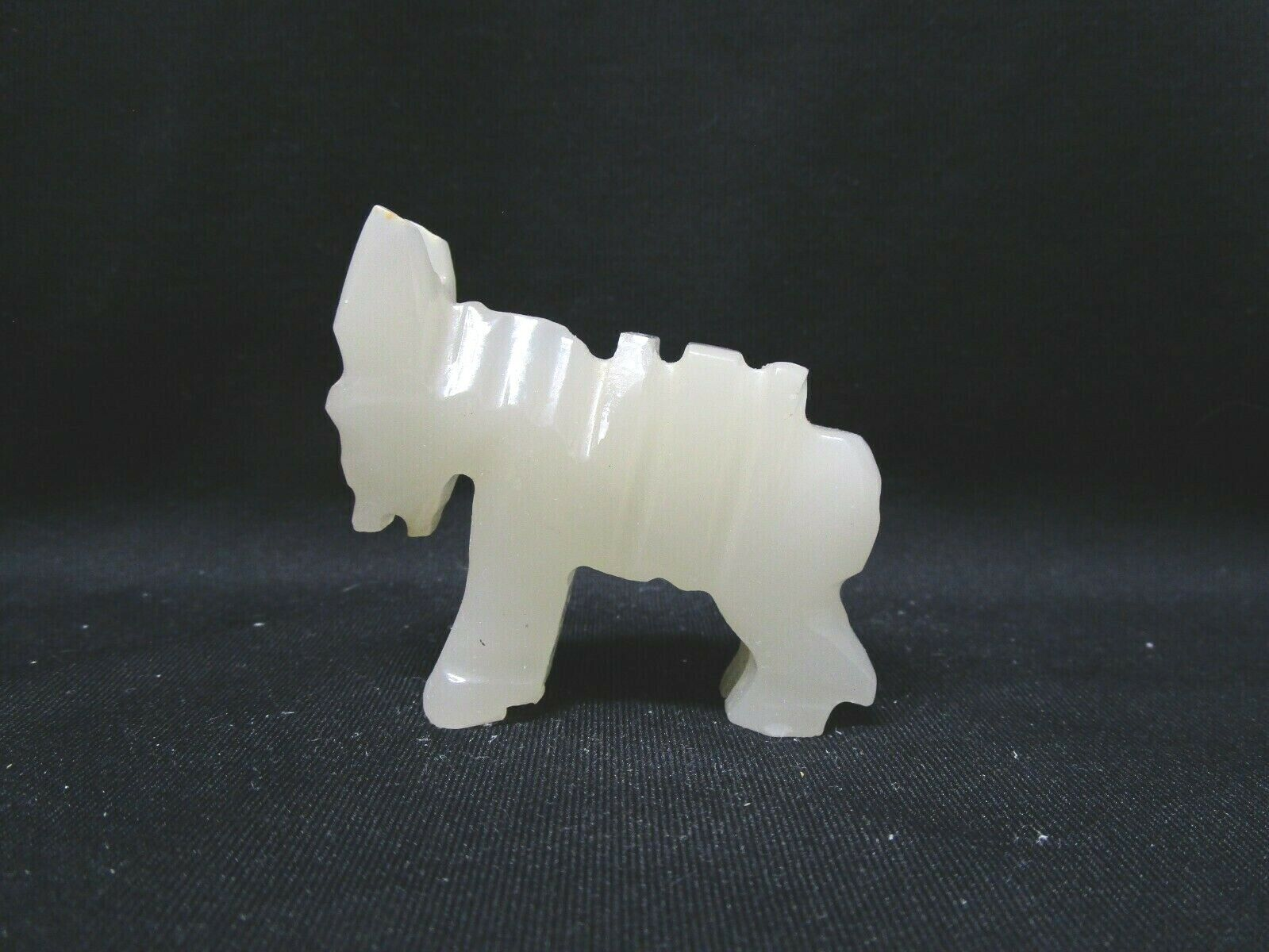 Vintage, Hand Craved, Small White Alabaster Marble Donkey Pack Mule Figurine