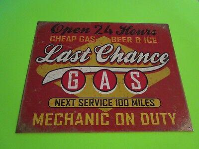 Tin Metal Home Garage Repair Shop Man Cave Decor Gas Oil Last Chance Cheap Beer