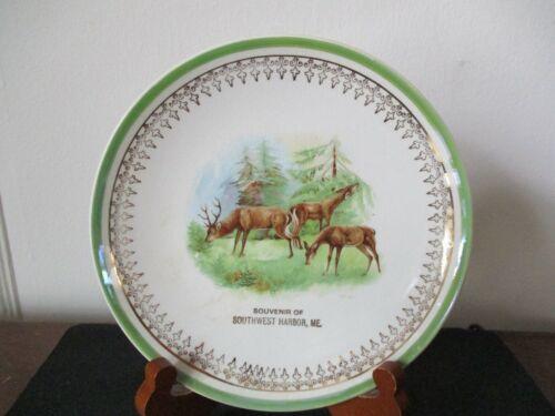 Circa 1910 Souvenir Plate Dish Stag Big Buck Doe Deer Southwest Harbor Maine