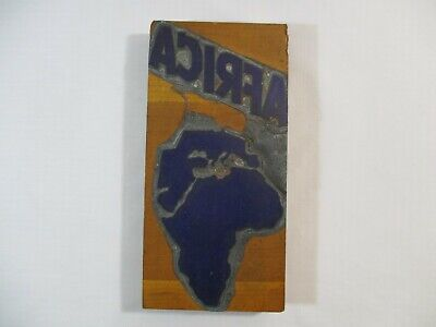 Vtg. Africa Continent Printing Letterpress Block 7.5 X 3.5
