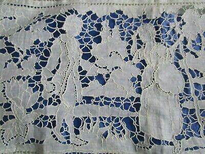 15 x 13 12. Ivory Lace with Pink Cotton Insert Antique Tambour Lace Boudoir Heart Pillow