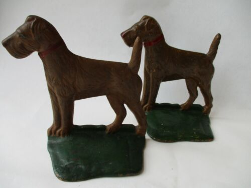 vtg cast iron Airedale Terrier dog BOOKENDS antique welsh fox statue doorstop