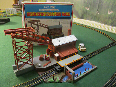 Vintage Life Like Operating Logging Mill Tyco Lionel Train Track Set Building