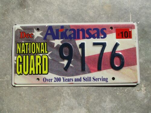 Arkansas 2010 National Guard license plate  #  9176