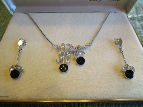 Vintage Van Dell Sterling Silver Necklace & Earring Onyx and Rhinestone Set