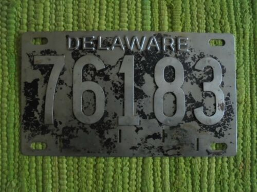 1948 era License Plate Delaware Stainless Steel Riveted DE Tag 76183