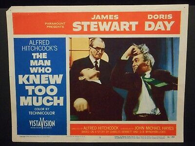 Alfred Hitchcock The Man Who Knew Too Much James Stewart 1956 Lobby Card #5 VG