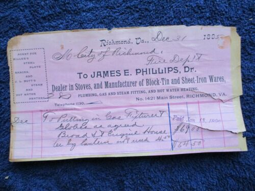 1895 Richmond,Virginia Globe Lantern for Firehouse,Axe for the truck,letterhead!