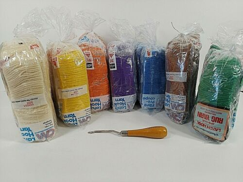 Columbia Minerva Latch Hook Rug Pillow Yarn Acrylic Multicolor Lot of 98 NOS NEW