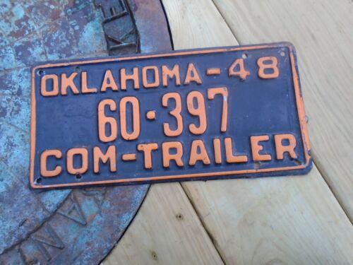 Vintage 1948 Oklahoma Com Trailer # 60-397 License Plate, OK