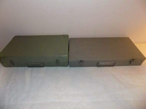 2 Vintage Metal Slide File Cases
