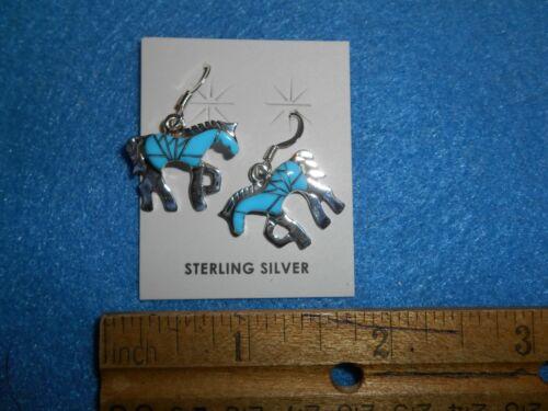 Zuni Horse Earrings (turquoise)   ABA - 16022