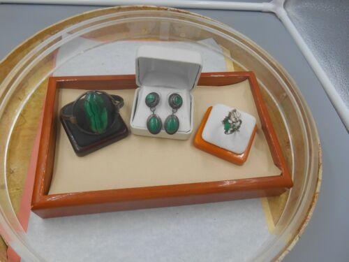 ESTATE STERLING ARTISAN LOT NICE MALACHITE BRACELET RING AND EARRINGS