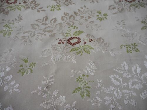 Vintage French Floral Brocade Jacquard Furnishings Fabric~ Tawny Umber Red Green