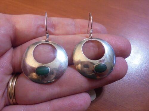 Vtg Sterling silver round green malachite hoop dangle hook earrings 4.6 grams