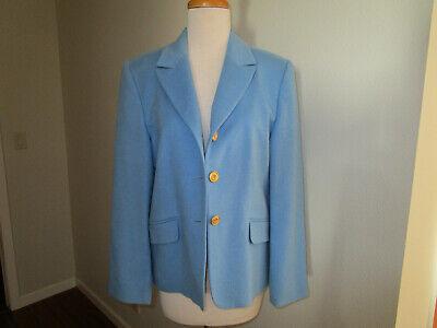 CASHMERE BLAZER LIGHT BLUE GOLD BUTTONS LUXE CLASSIC TAILORED SIZE 8 (40) EUC Classic Tailored Blazer