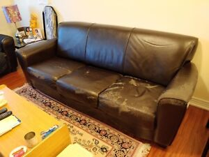 Used Black Brown High end leather sofa