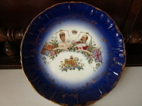 "King Edward VII Queen Alexandra Coronation Souvenir 8 1/8"" Plate Scalloped"