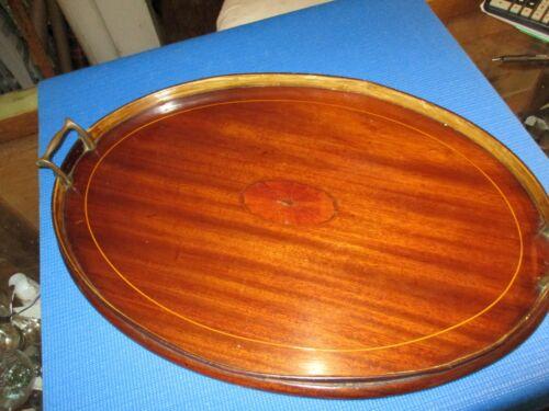 Antique Mahogany Oval Serving Tray
