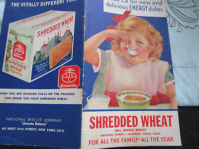 Vtg 1933 Shredded Wheat Advertisement Recipe Booklet National Biscuit Co.