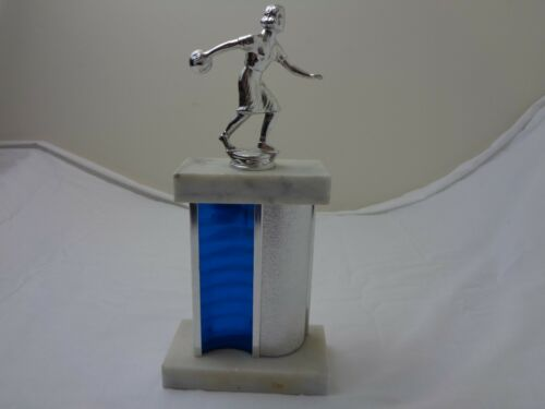 Vintage Ladies Blue and Silver Bowling Trophy