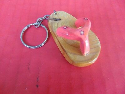 KEY RING CHAIN FLIP FLOPS Wood Sandal Hand Carved & Varnished