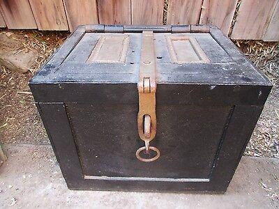 Antique Strong Box Safe Iron Lock Box Safe w/Latch & Handles Large Heavy