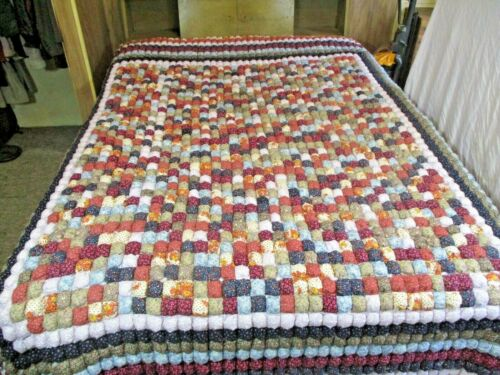 """Handmade Quilt Blanket Patchwork Colorful 84"""" x 96"""""""