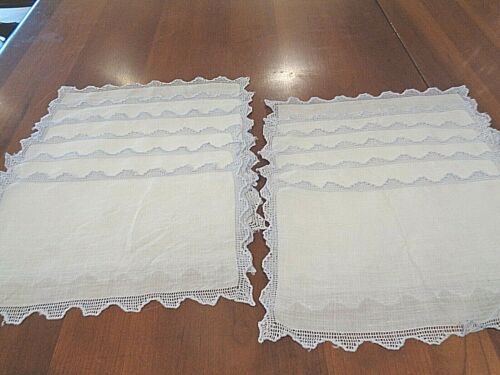 Collection of 12 matching Antique FINE linen cocktail napkins