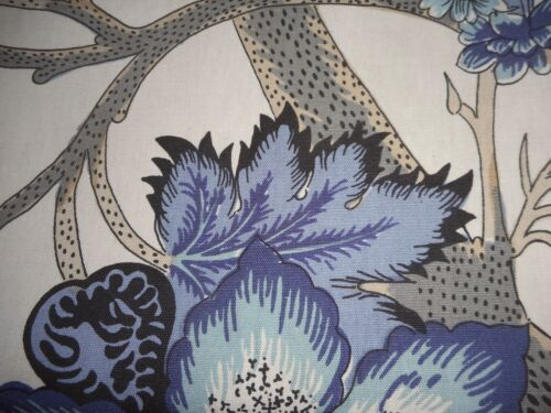 Antique Vintage French Blue Indienne Tree of Life Floral Cotton Fabric ~ Frey ?