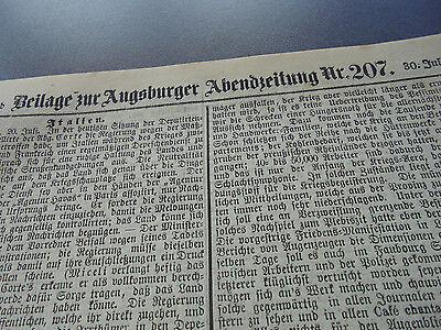 1870 Augsburg Zeitung 207 nur die Beilage / Moosburg Zolling
