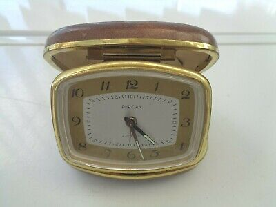 VINTAGE EUROPA MECHANICAL 2 JEWELS TRAVEL ALARM CLOCK MADE IN GERMANY