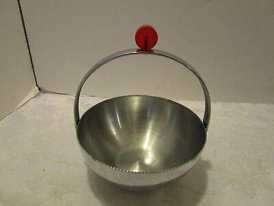 Art Deco Chromed Bowl Revere Red Lucite Handle serrate edge 1930's N.Y Vintage