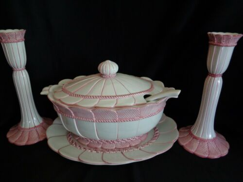 SOUP TUREEN Platter, & Candlesticks  MADE IN ITALY O.G.G.