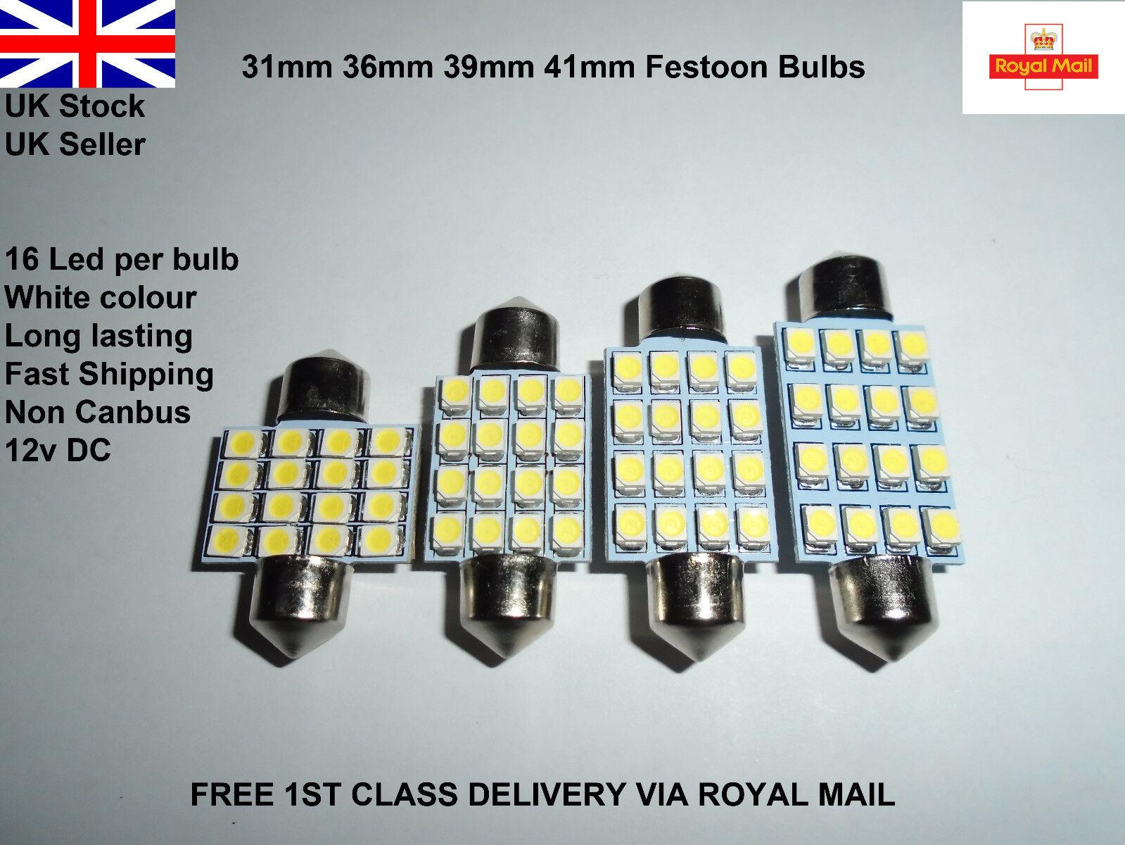 42-44mm 8 LED INTERIOR FESTOON DOME TRUNK CEILING LIGHT LAMPS BULBS SV8.5