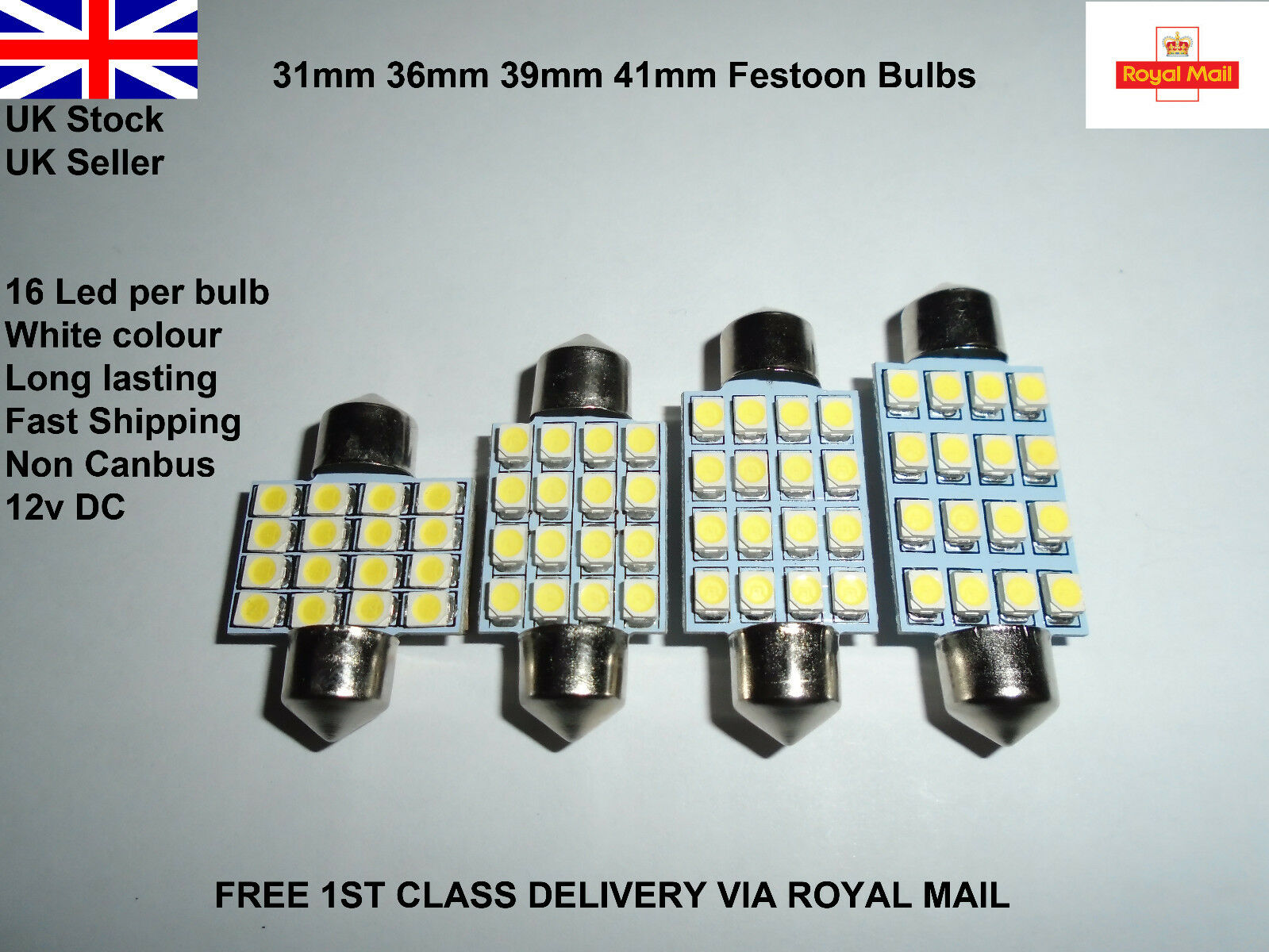 Car Parts - Car Festoon 31-42mm Led Smd c5w sv8.5 Lamp Light Bulbs Interior Hid White 12v UK