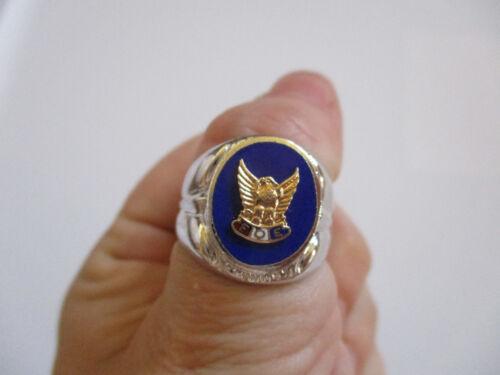 vintage 1950 F.O.E. Fraternal Order of Eagles Membership Sterling Ring 8 NOS