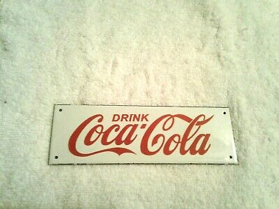 Vintage Coca Cola (Coke) Original Porcelain & Metal Advertising Sign ~ Small