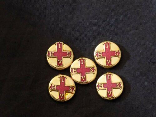 Red Cross Constantine York Rites Freemason Gold Button Covers Masonic NEW!